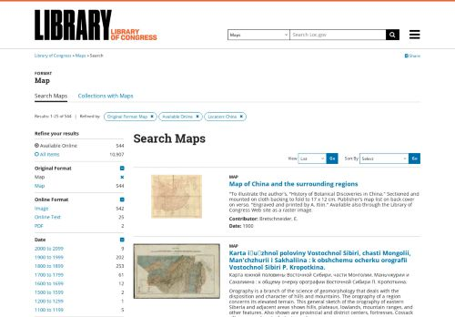 Kartensammlung der Library of Congress in Washington, USA