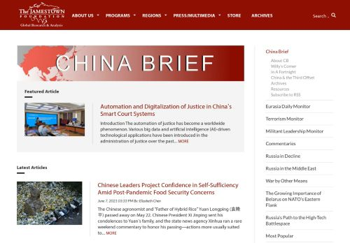 Jamestown Foundation, The - China Brief