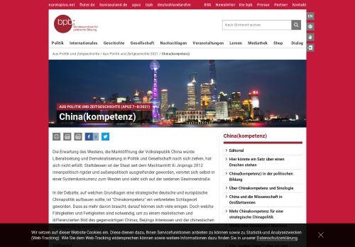 Aus Politik und Zeitgeschichte: China(kompetenz)