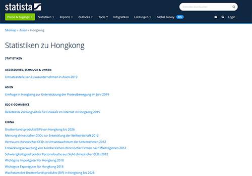 Statista: Statistiken zu Hong Kong