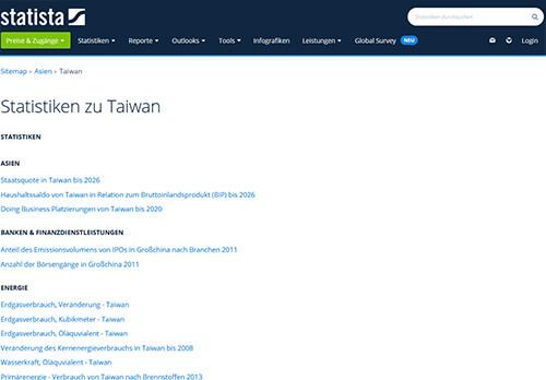 Statista: Statistiken zu Taiwan