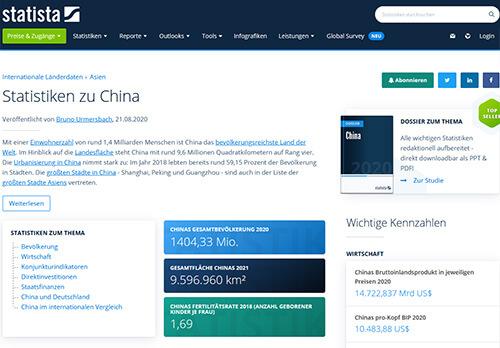 Statista: Statistiken zur Volksrepublik China