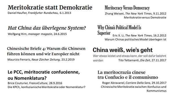 Eine Sammlung von Überschriften europäischer und US-amerikanischer Medien zum Thema China als Meritokratie